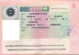 Пример визы в Данию